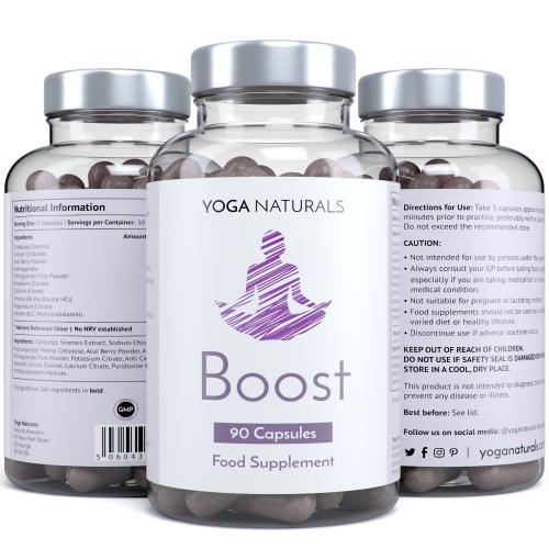 Yoga Naturals Boost 90 Capsules Bottle yoga supplements